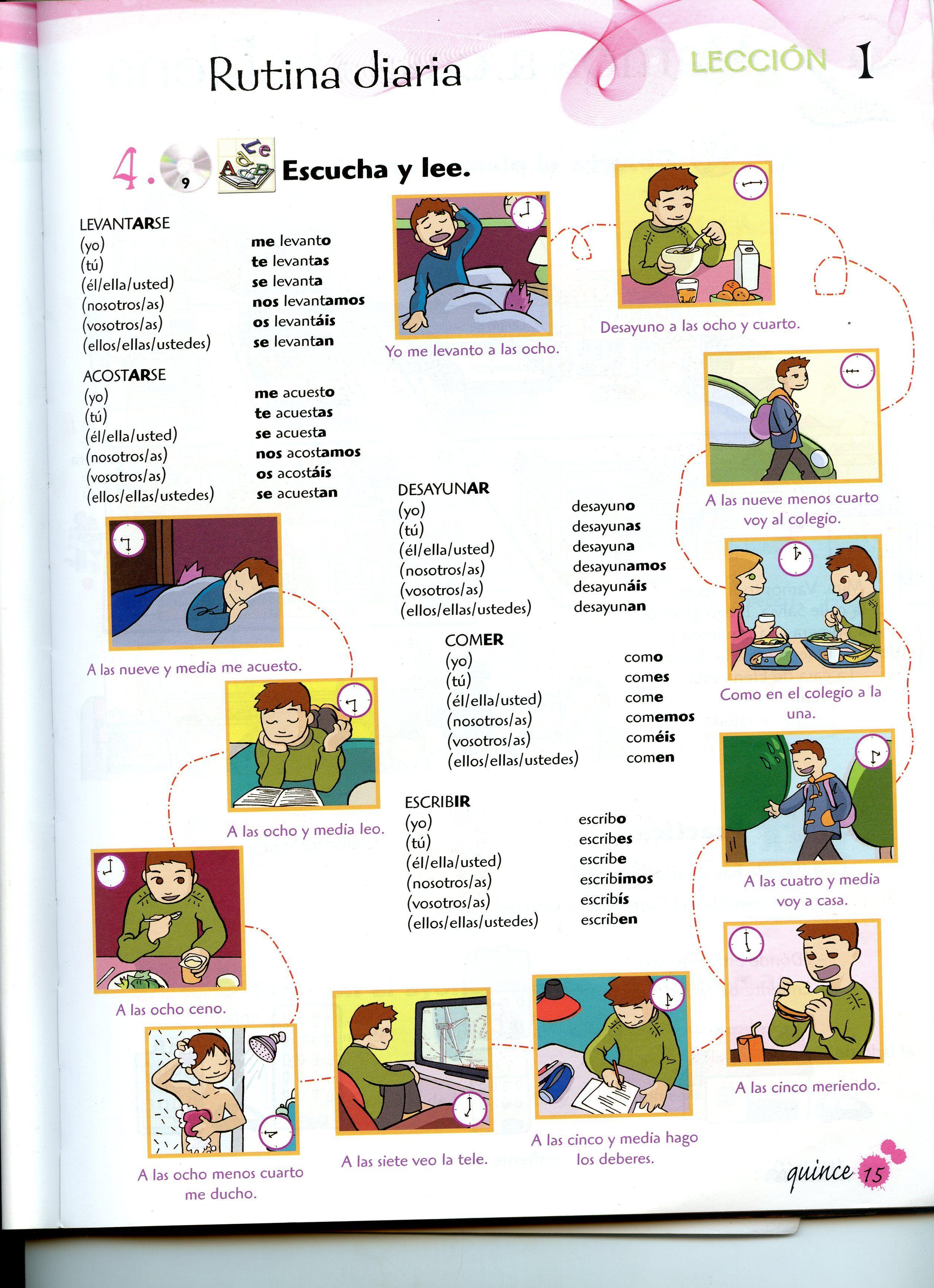 los verbos de la rutina diaria muy completo la rutina diaria pinterest spanish teaching. Black Bedroom Furniture Sets. Home Design Ideas