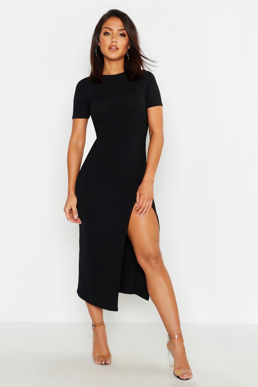 Jumbo Rib Split Side Midi Dress Boohoo Black Dress Outfits Black Dress Accessories Bodycon Fashion [ 1500 x 1000 Pixel ]