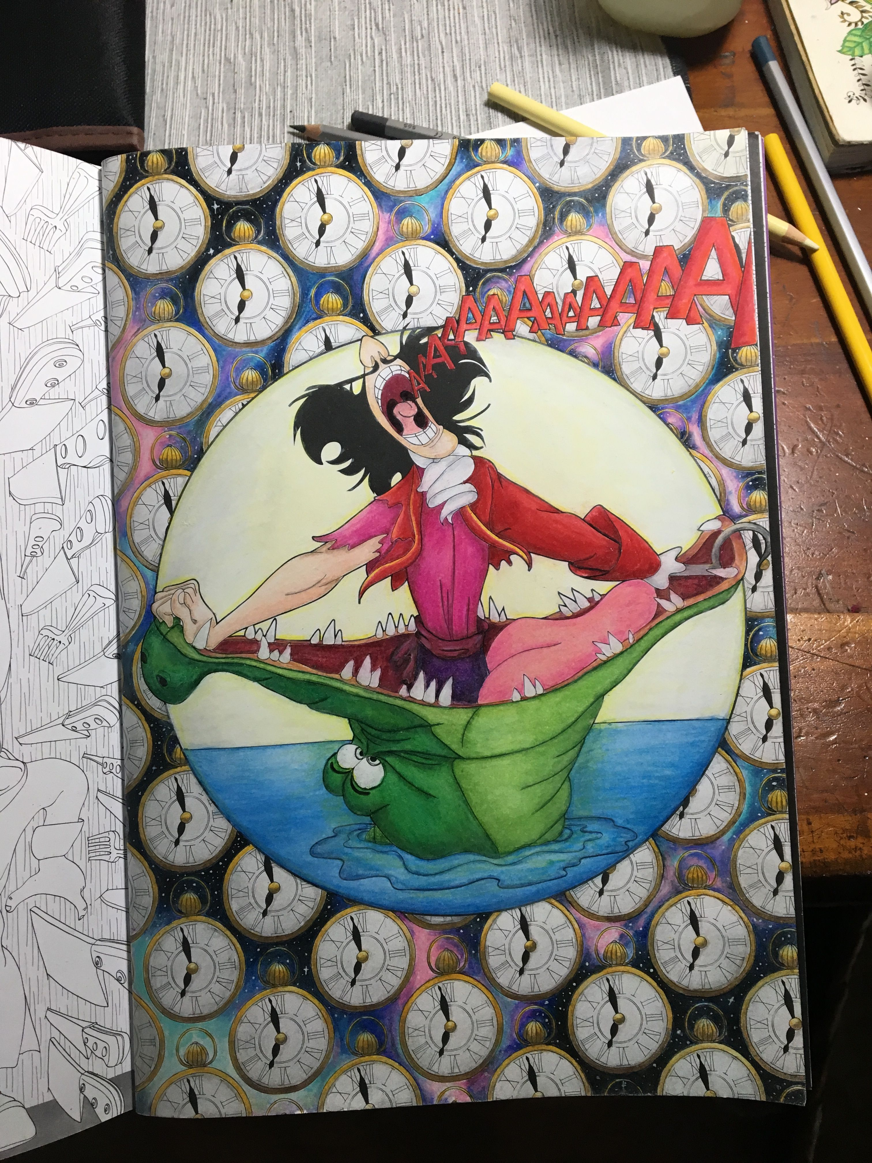 Art of coloring Disney villains - Captain Hook. By far my favorite