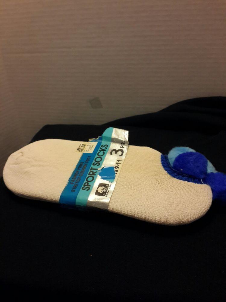 Vintage Ankle Sport Socks With Pom Poms Golf Tennis 2pair Fits 9 11 White Blue Kmart Athletic Sport Socks Accessories Blue