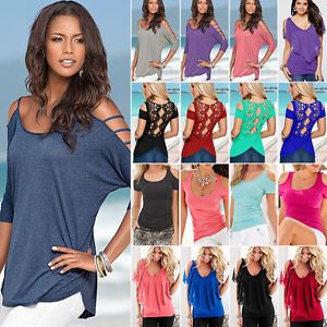 c10659d2c4456 Women s-Cold-Shoulder-T-Shirt-Tops-Short-Sleeve-Summer-Casual-Tee-Shirts- Blouse - Free Shipping