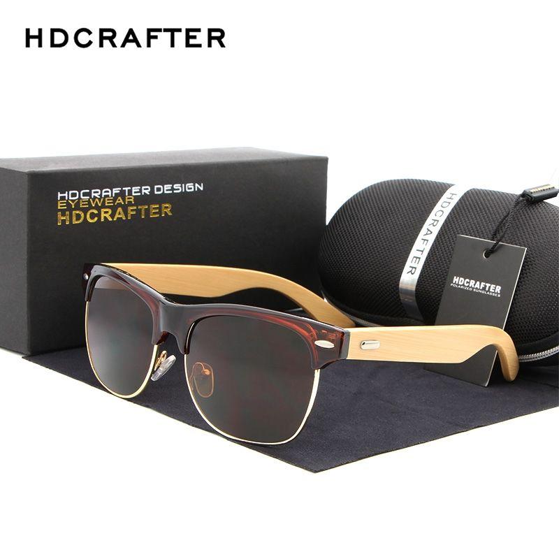 c9839a6c89 HDCRAFTER Semi-Rimless Wood Sunglasses PC Frame Handmade Bamboo Sunglass  Men Wooden Sun Glasses Women Oculos de sol masculino  Affiliate