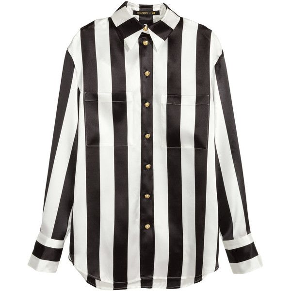 H&M Striped silk blouse (290 BRL) ❤ liked on Polyvore featuring tops, blouses, white blouse, silk blouses, white silk blouse, color block blouse and white top