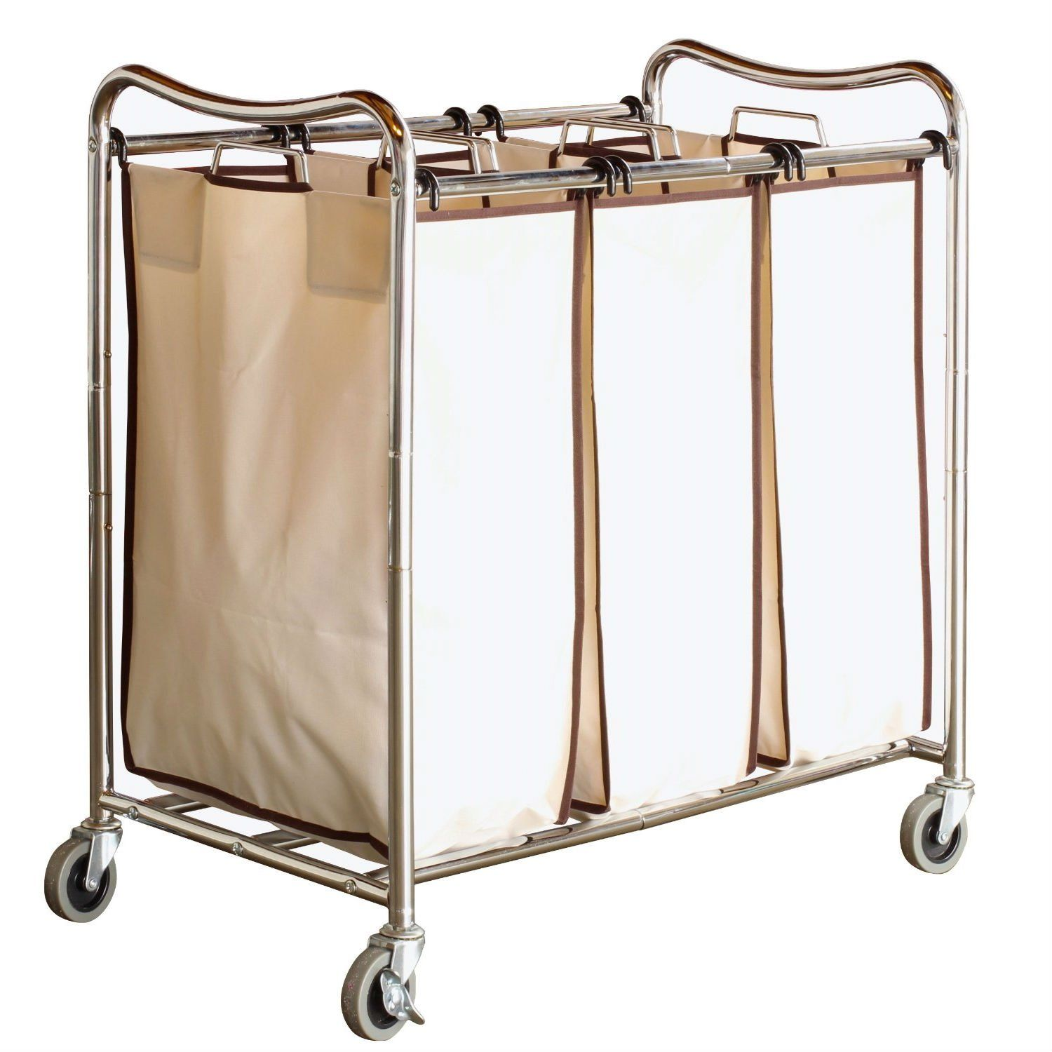Heavy Duty Laundry Cart With 3 Cream Tan Hamper Bags And Lockable Wheels Laundry Sorter Laundry Cart Best Laundry Detergent