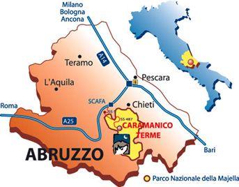 Map of Abruzzo, Italy | Caramanico Terme, Sant\' Eufemia a Maiella ...