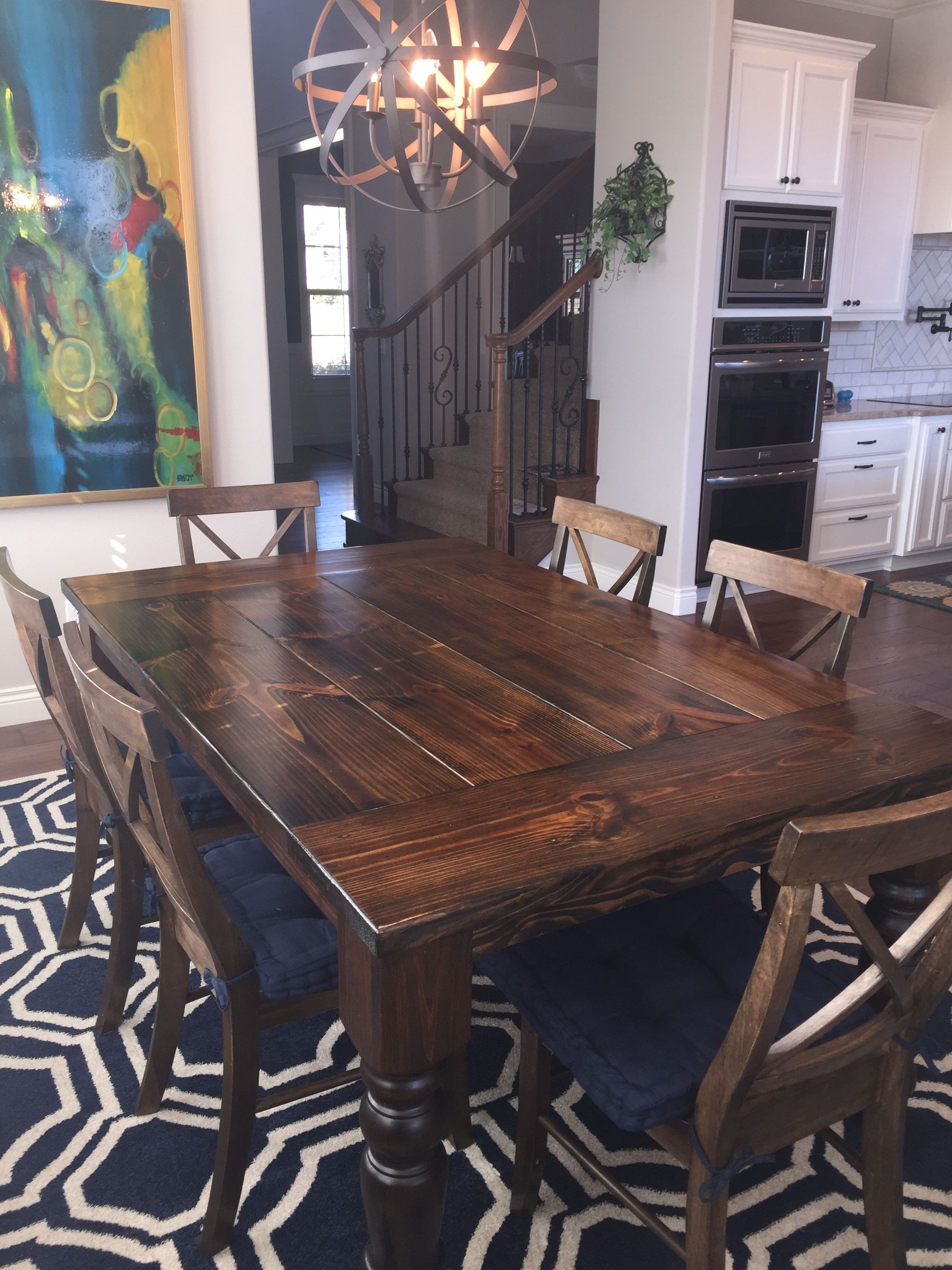 Baluster Turned Leg Table Dark Wood Dining Room Table Wood