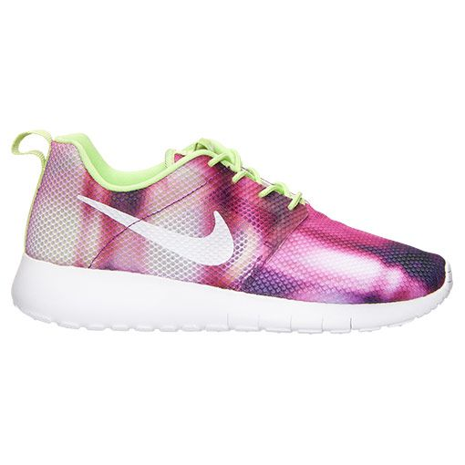 Girls Grade School Nike Roshe One Flight Weight Casual Shoes Court Purple  White Key Lime 705486