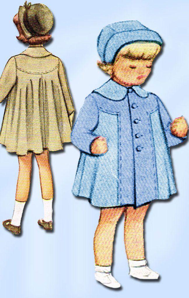 1940s Vintage McCalls Sewing Pattern 7547 Toddler Girls Swingback ...