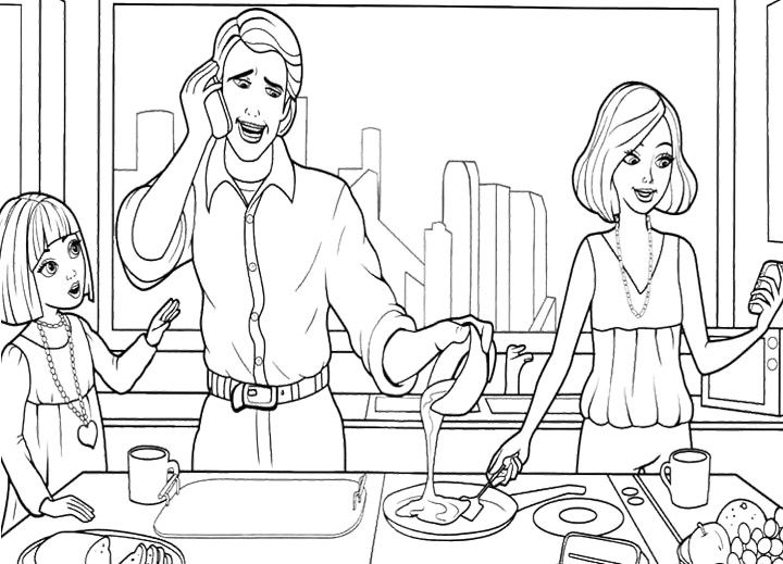 Barbie Thumbelina In The Kitchen Coloring Pages