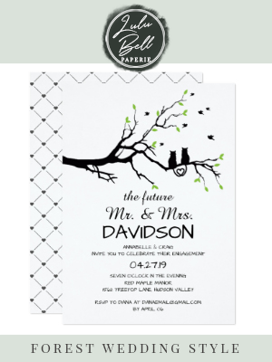 Two Cats In A Tree Engagement Party Invitation  Two Cats In A Tree Engagement Party Invitation