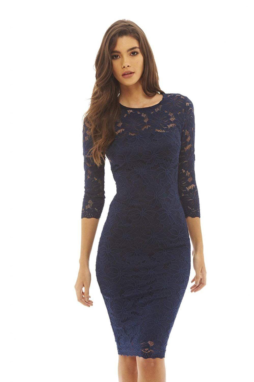 Amazon.com: AX Paris Womens Lace Bodycon Midi Dress(Navy