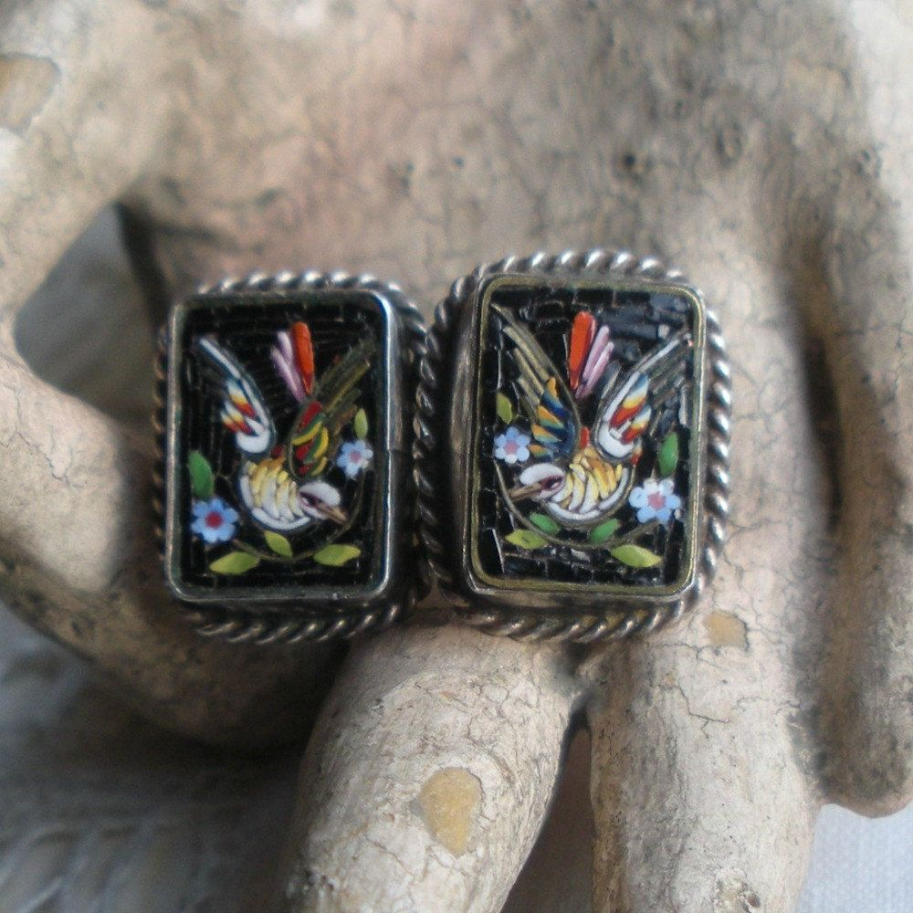 Antique Micro Mosaic Sterling Dove and Flower Earrings.