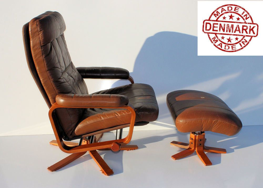Mid Century Danish Modern Leather Recliner Lounge Chair Ottoman Free Ship Danishmodern Skippersmobler Chair And Ottoman Lounge Chair Leather Recliner