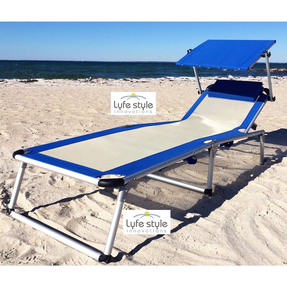 ErgoLounger Cool Lounger with Canopy Blue beachstore