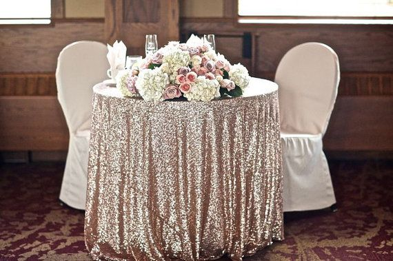 Round Champagne Sequin Cloth Tablecloth Whole Table Cloths Sparkly Linens Would Be Beautiful For The Cake