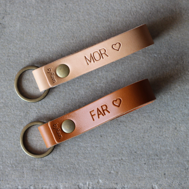 Den perfekte gave til mors dag og fars dag Nøgleringe fra byRavn | Nøgleringe i læder med ...