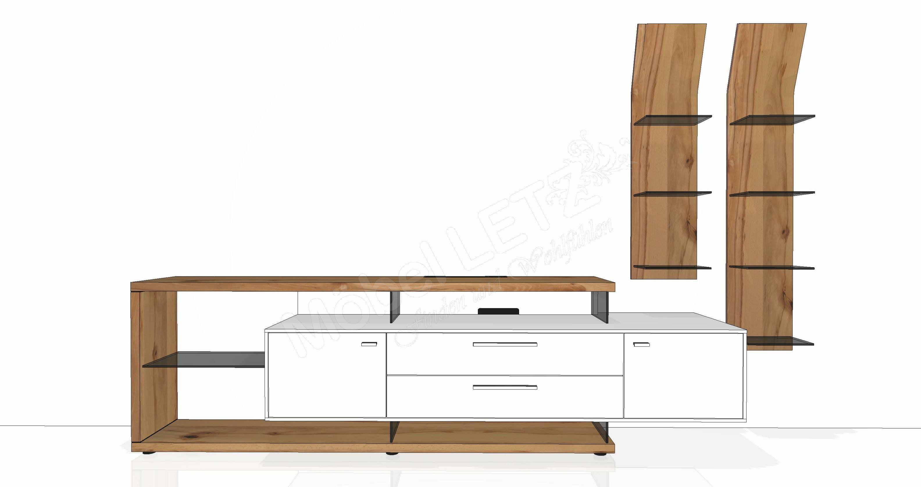 Gwinner Wohnwand Media Concept MC906 weiß/ Wildkernbuche