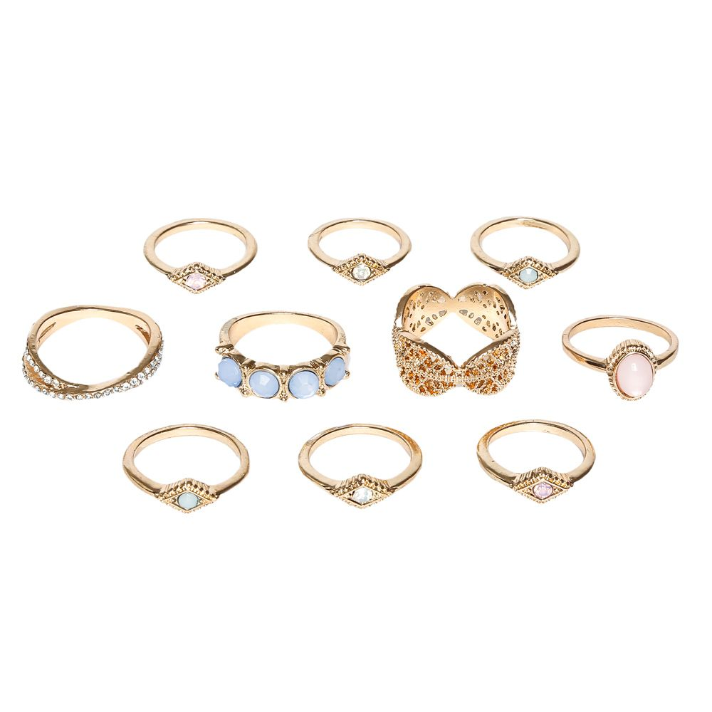 Gold Crystal & Stones 10 Pack Stack Rings | Claire\'s | Jewelry ...