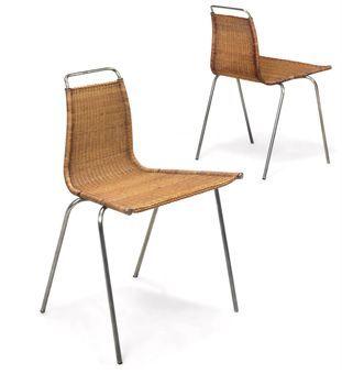 Poul Kjærholm; #PK1 Steel and Woven Cane Chair for E. Kold Christiansen, 1956.