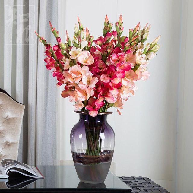 Aliexpress Com Buy New Artificial Flowers For Wedding Decorations Fake Silk Gladiolus Flower Bouquet Bouquet Home Decor Artificial Flowers Gladiolus Flower