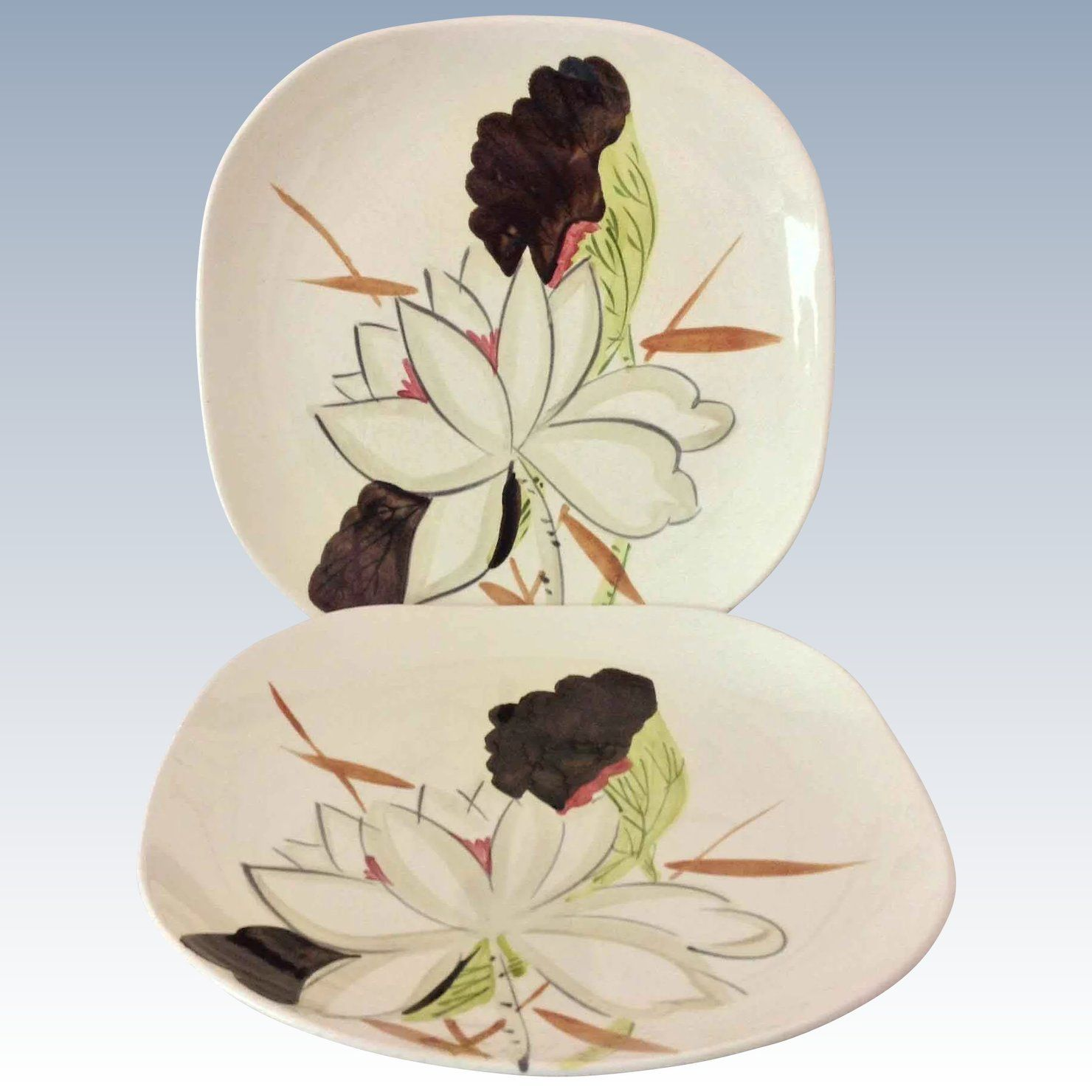 Red Wing Lotus Concord Shape Dinner Plates - Set of Two : lotus flower dinnerware - pezcame.com