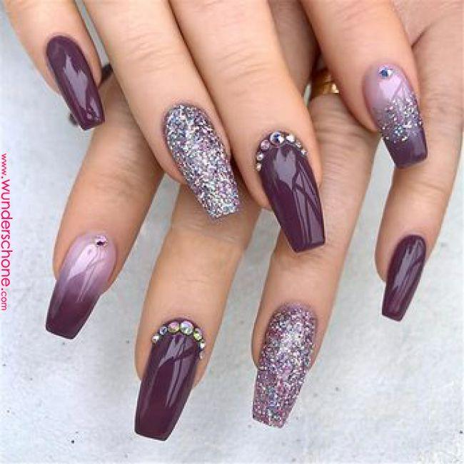 Elegant Purple Glitter Coffin Nails For Summer Ganaajlo Acrylic Nails Coffin Glitter Nail Designs Purpl Purple Nail Designs Purple Nails Nail Art Wedding
