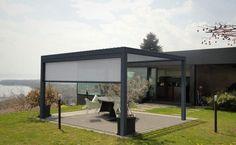Photo of freestanding aluminium pergola with mobile slats BIOSSUN