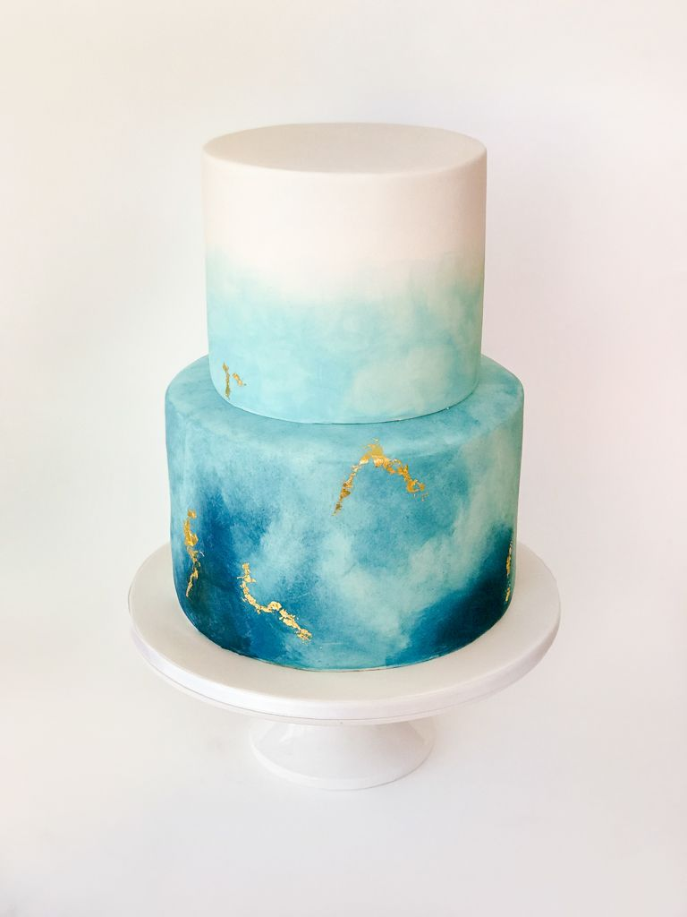 Blue Watercolour And Gold Leaf Cake Gold Leaf Cakes Blue