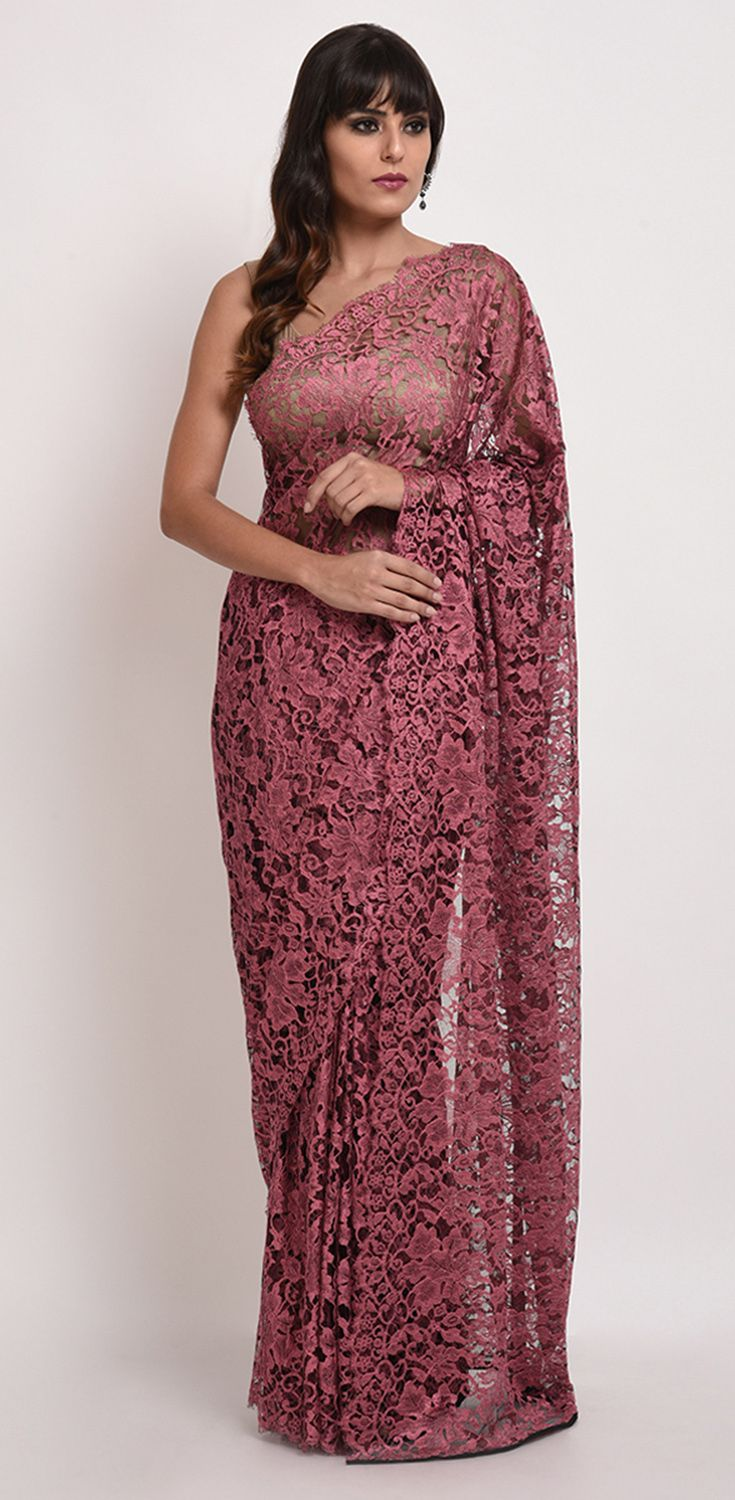 63e0225ac085 Wine- Black French Chantilly Lace Saree With Crepe Tissue Blouse ...