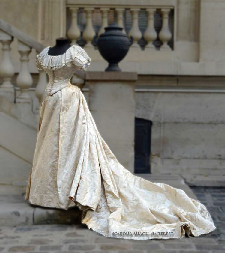 Wedding Gown Ca. 1885. Design In The Style Of Louis XIII