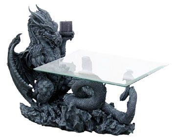 Superieur Gothic Dragon Furniture | Dragon Beast Glass Coffee Table With Candleholder