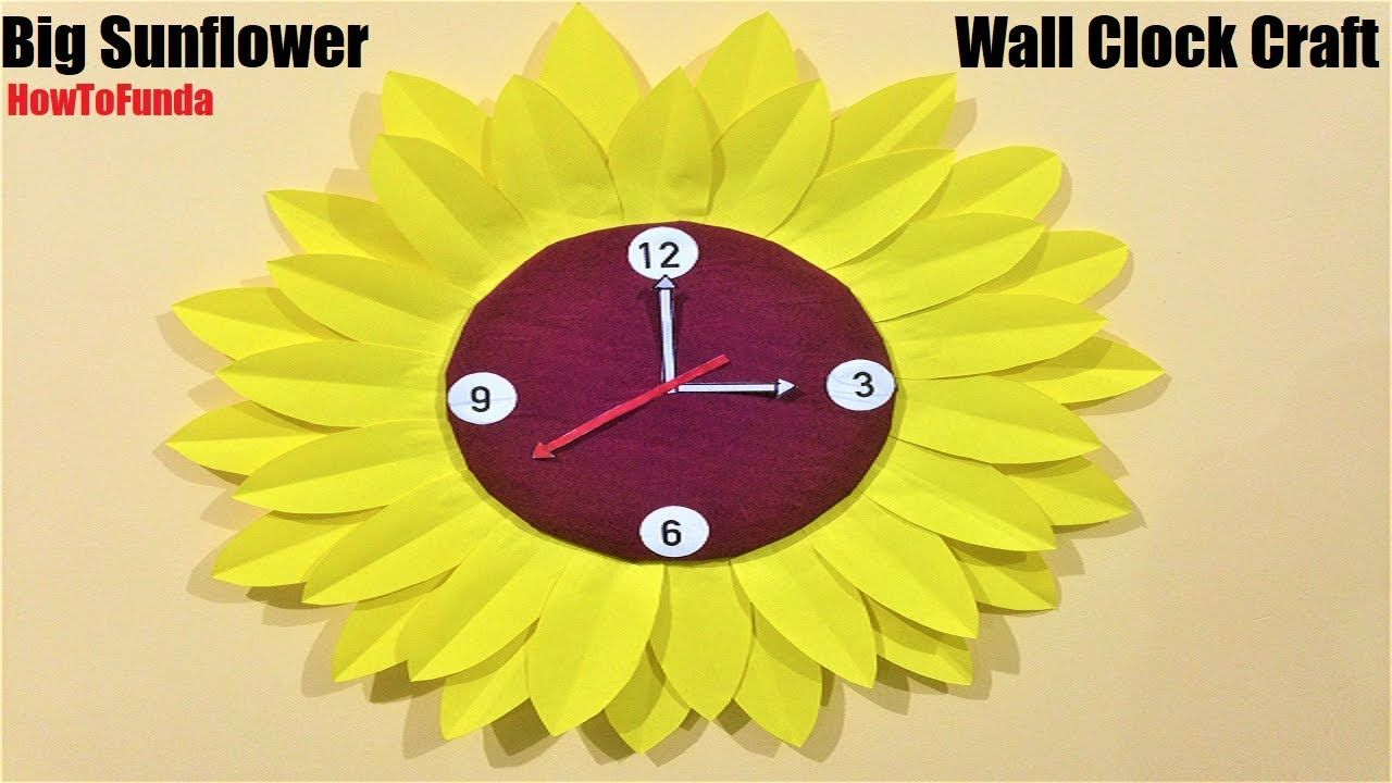 Sunflower Wall Clock Craft With Cardboard And Paper Kids Craft Ideas Children S Day Craft Clock Craft Wall Clock Craft Crafts