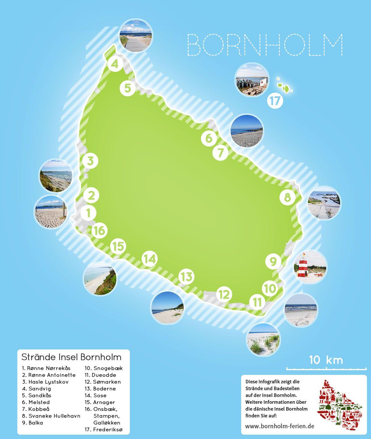 Ubersichts Karte Der Strande Auf Bornholm Bornholm Insel Strand