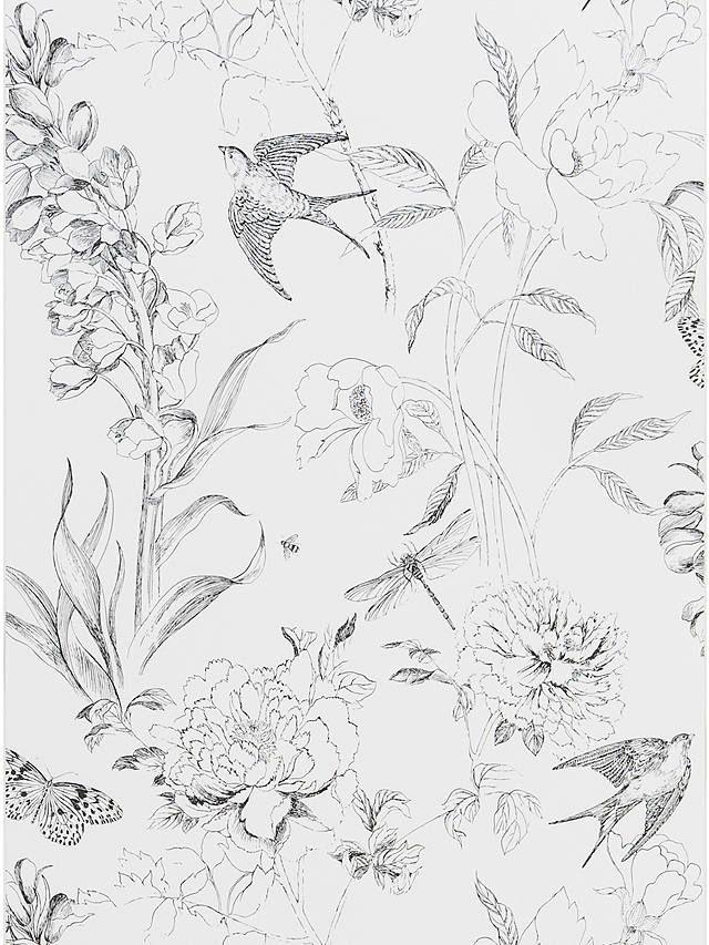 Designers Guild Jardin des Plantes Sibylla Garden Paste the Wall Wallpaper, Black / White PDG721/01