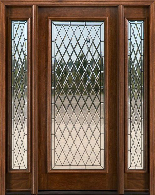 Mahogany Exterior Entry Door Beveled Glass 2 Sidelights Chat Exterior Entry Doors Exterior Doors With Sidelights Entry Doors With Glass