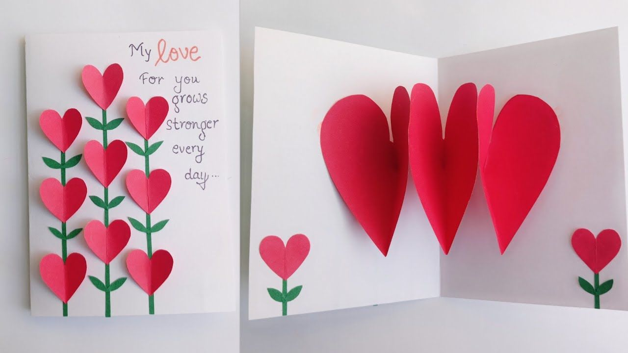 Beautiful Handmade Valentine Day Card Idea Heart Pop Up Card Greeting Card For Valenti Valentines Day Cards Handmade Valentines Day Cards Diy Heart Pop Up Card