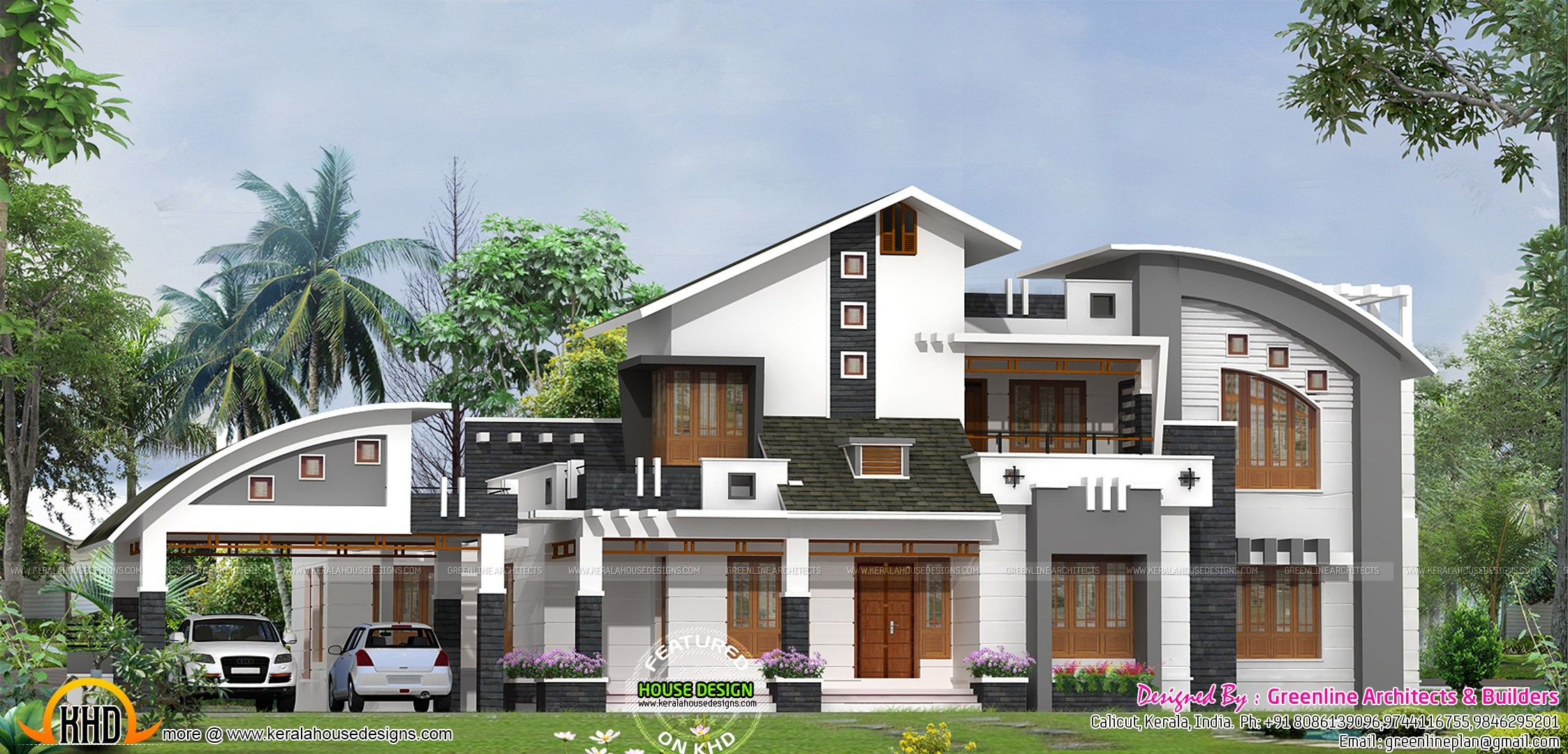 Delightful Contemporary Mix Villa Design Part - 11: Sloped Roof Modern Mix House Keralahousedesigns Sq Feet Flat Roof  Contemporary Home Design Home Kerala Plans Sloped Roof Modern Mix House  Keralahousedesigns ...