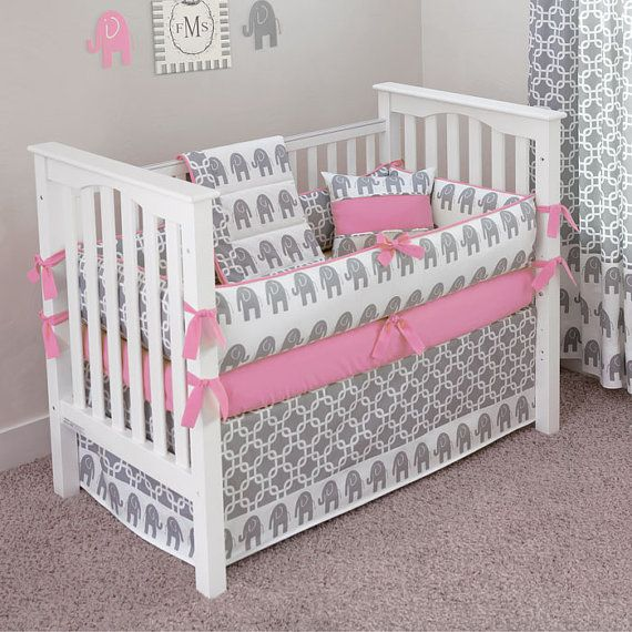 Designer Custom Made Ele Bubblegum 5pc Crib By Sofiabedding