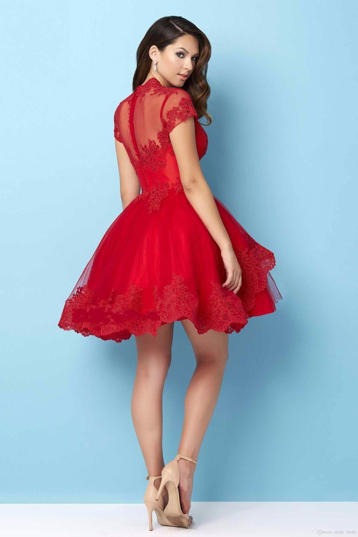 c2b2512c2 Aliexpress.com Comprar Sexy cuello en V manga corta de encaje rojo vestidos  fiesta 2016