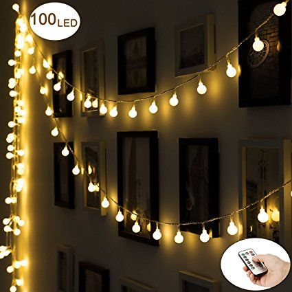 Outdoor String Lights, 351ft 100 LED Waterproof Ball Lights, 8