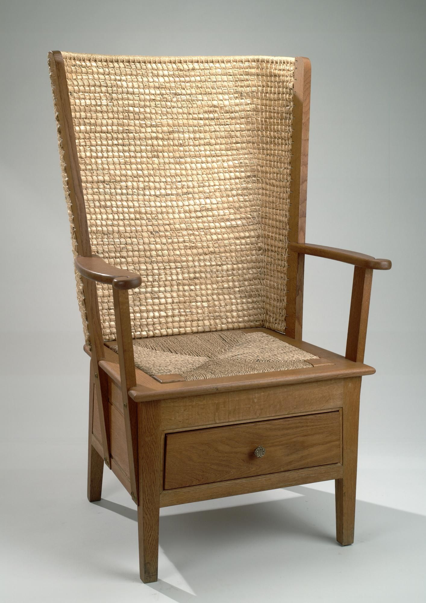 Orkney Chair, A Chair Of Japanese Oak With A Straw Back: Scottish, John  Davidson, 1985.