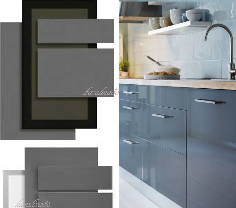 High Gloss Grey Cabinets Ikea: Ikea Abstrakt Gray Kitchen Cabinet Door Front High Gloss