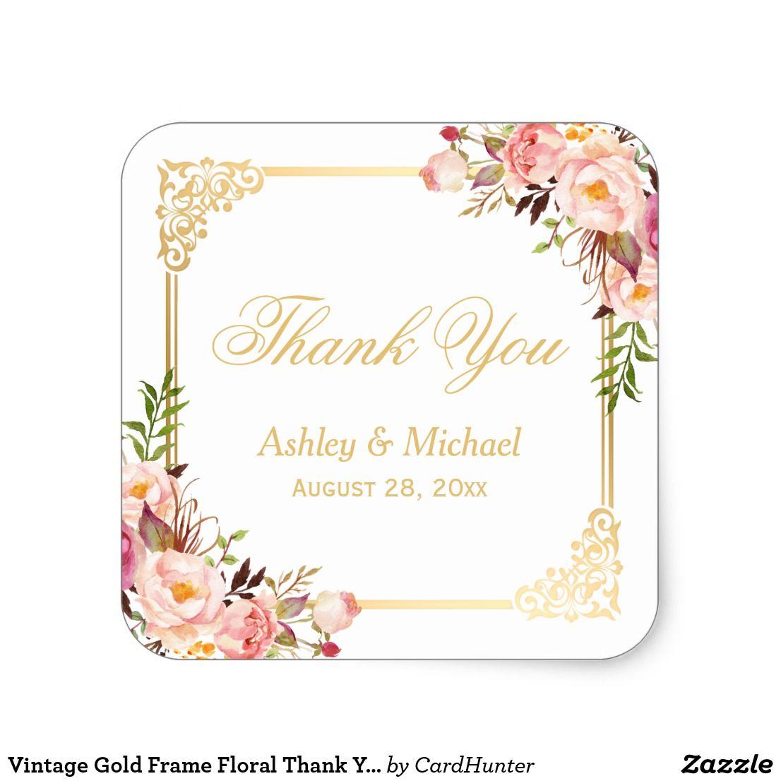 Vintage Gold Frame Floral Thank You Wedding Favor Square Sticker ...