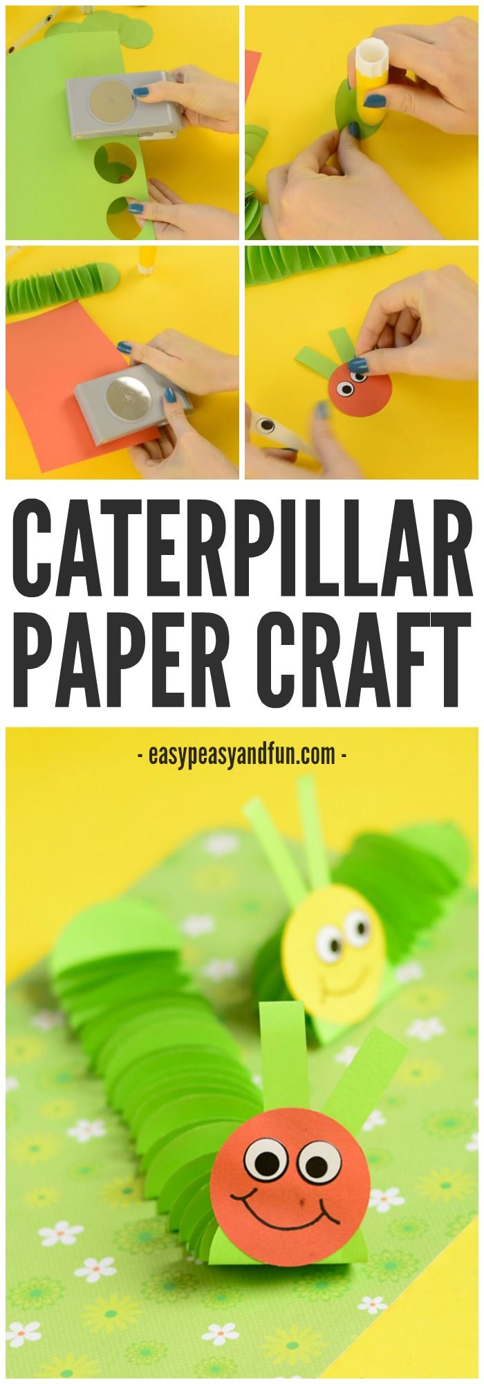 Paper caterpillar craft paper circles crafts circles for kids