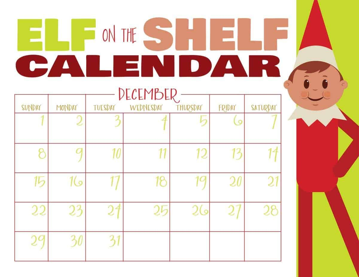 Printable Elf On The Shelf Calendar Use This Printable