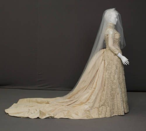 1887 Wedding Dress, Silk Faille, Net, Lace, And Pearls By