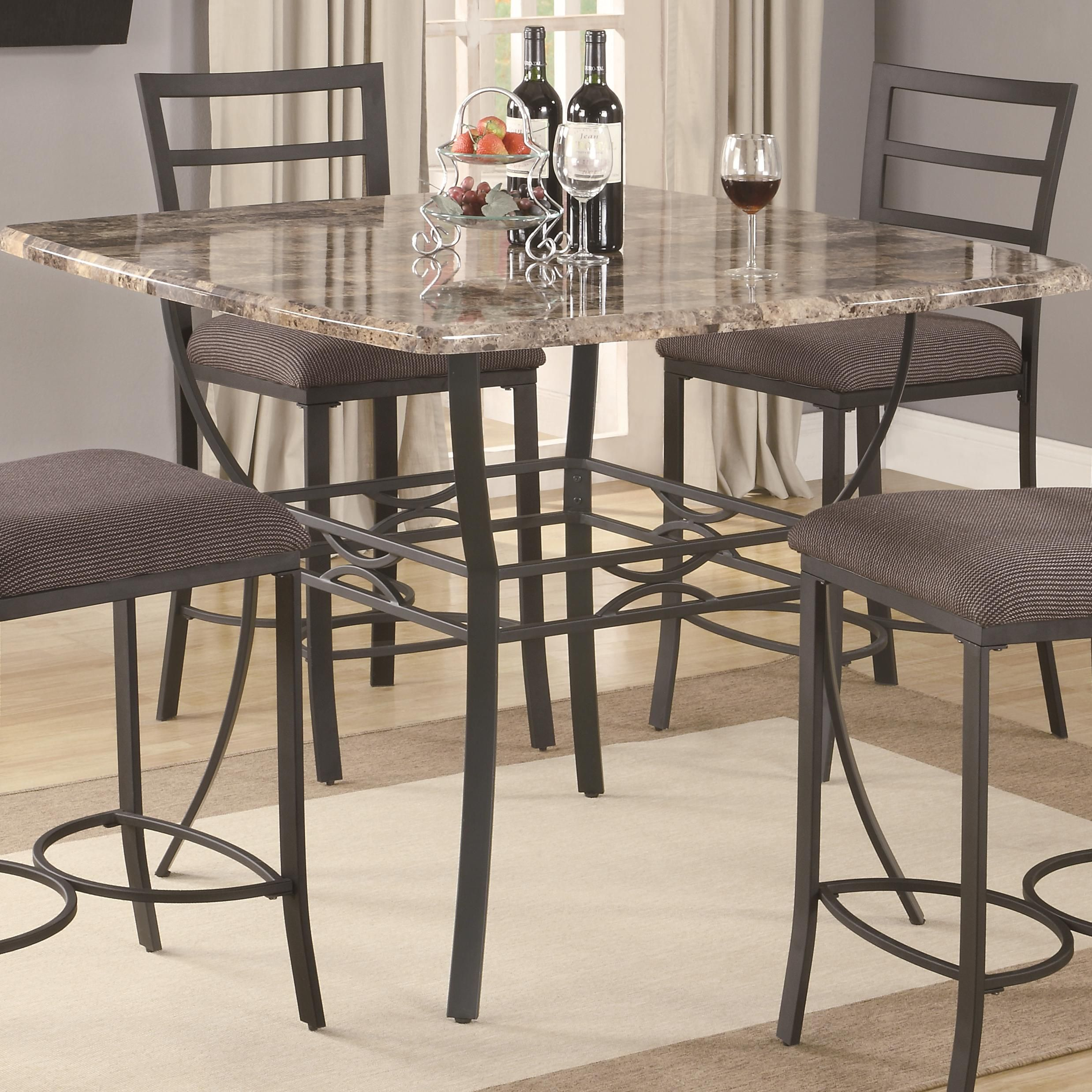 120678 Ashford Counter Height Pub Table With Faux Marble