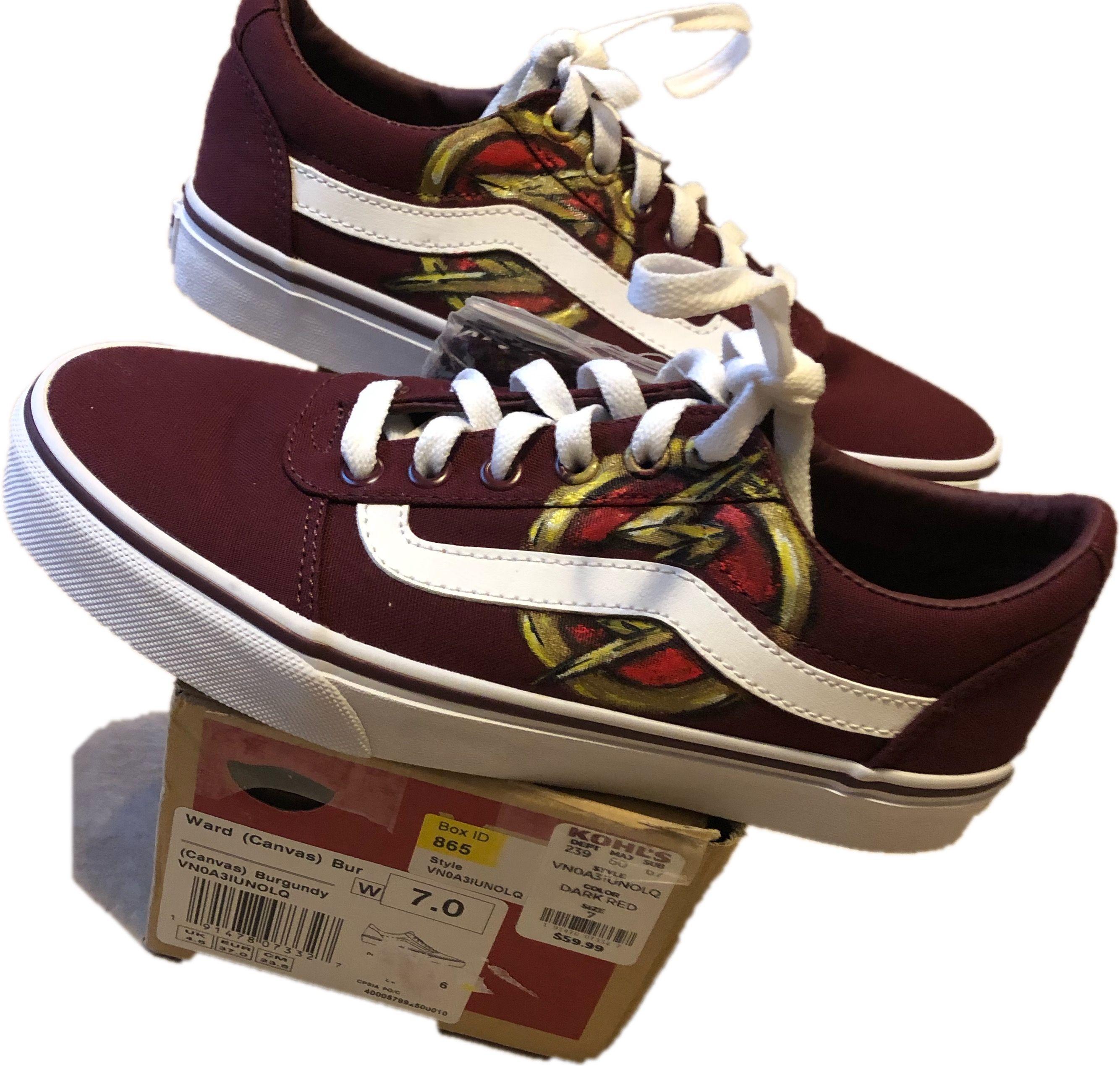 Maroon vans, Vans, Painted canvas shoes