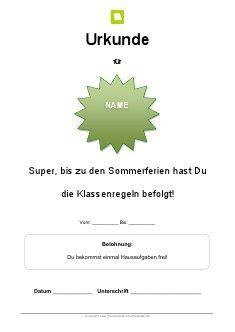 Arbeitsblatt: Sommerferien Urkunde für die Grundschule | Kostenlose ...