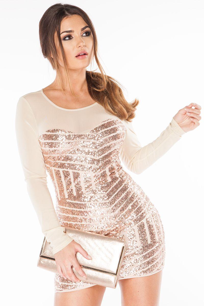 Shine Bright Like A Diamond Dress In Champagne Sequin   Showpo